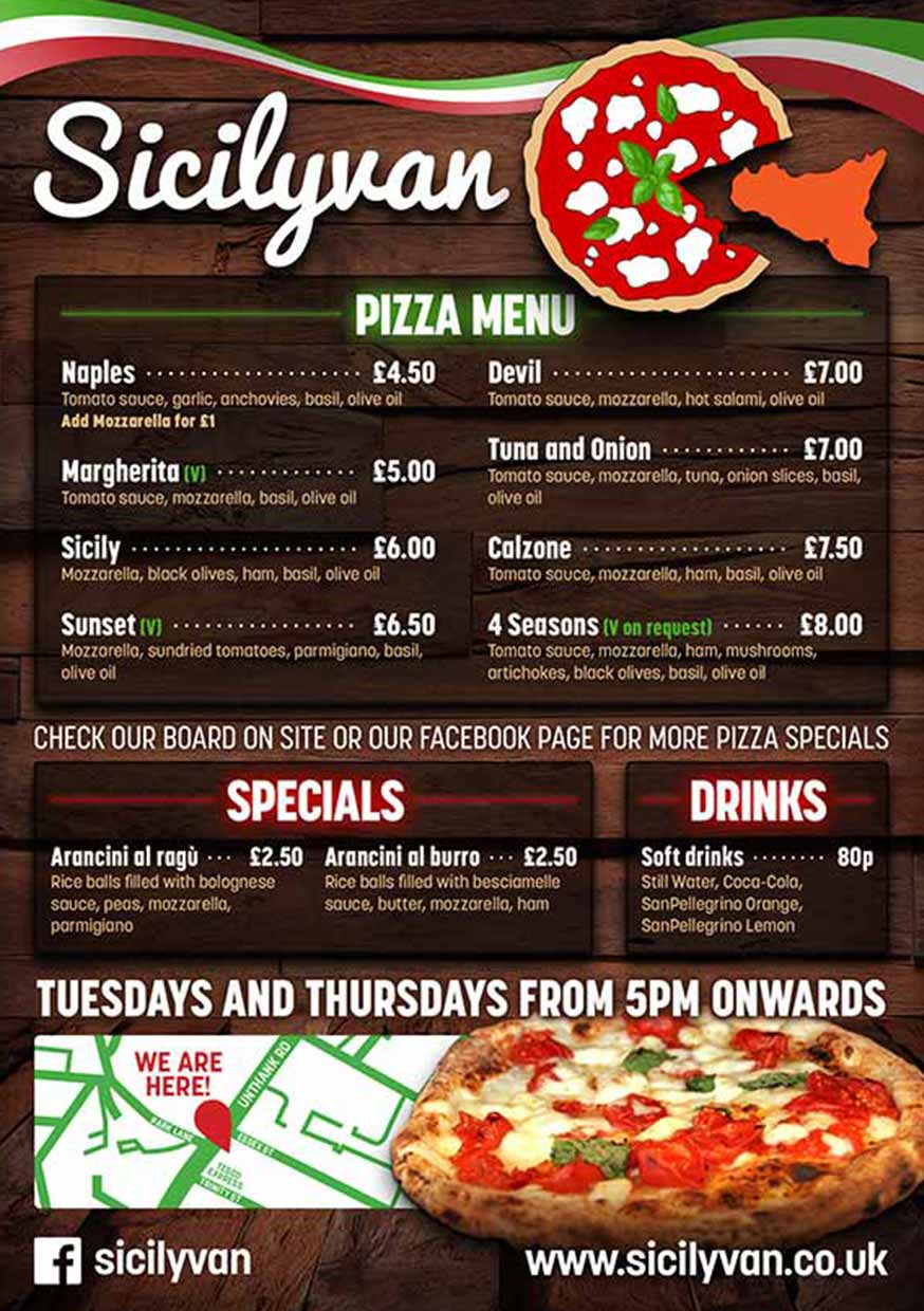 Sicilyvan Pizza Flyers